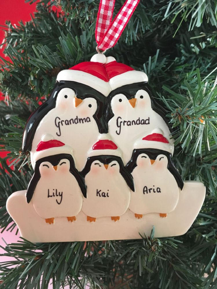 Personalised Penguin Family of 5